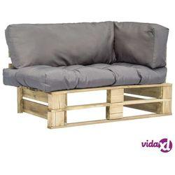 Vidaxl sofa ogrodowa z palet z szarymi poduszkami, sosnowe drewno fsc