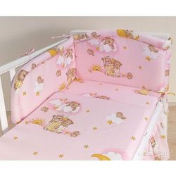 Mamo-tato pościel 2-el drabinki z misiami na różowym tle do łóżeczka 60x120cm