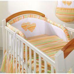 MAMO-TATO pościel 2-el Serduszka w paseczkach marchewkowych do łóżeczka 70x140cm z kategorii komplety pościeli dla dzieci