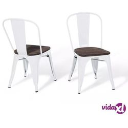 Beliani Krzesło do jadalni biało-ciemnobrązowe APOLLO