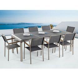 Meble ogrodowe - stół granitowy 220 cm czarny palony z 8 szarymi krzesłami - grosseto marki Beliani