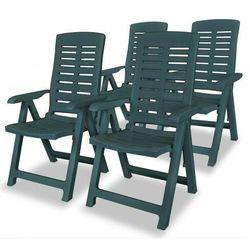 Vidaxl rozkładane krzesła ogrodowe, 4 szt., plastikowe, zielone marki Elior