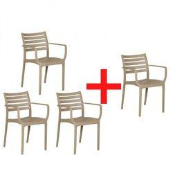 B2b partner Krzesło ogrodowe slender, beżowy, 3+1 gratis