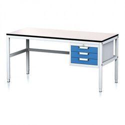 Stół warsztatowy MECHANIC II, 1600 x 700 x 745-985 mm, 3 kontener szufladowy, szary/niebieski