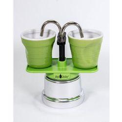 Kawiarka Top Moka Mini 2 filiżanki zielona + 2 kubeczki