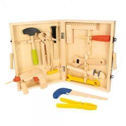 Drewniana skrzynka z narzędziami (skrzynka narzędziowa zabawka)