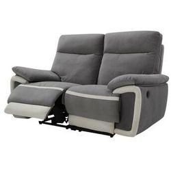 Sofa 2-osobowa z weluru z elektryczną funkcją relaksu metti - szara z pasami ecru marki Vente-unique