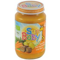 4 mc marchew, ziemniak i wołowina bezglutenowe bio 190 g -  marki Sun baby