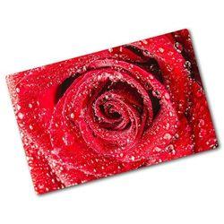 Deska do krojenia hartowana Krople wody na róży