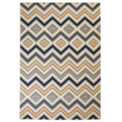 Vidaxl Nowoczesny dywan w zygzak, 120x170 cm, brązowo-czarno-niebieski