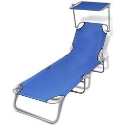 składany leżak ogrodowy z zadaszeniem, niebieski, 189x58x27 cm marki Vidaxl
