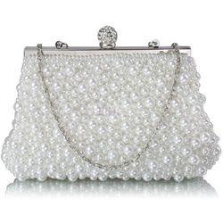 Lejdi Ślubna torebka wysadzana perełkami - biała, kategoria: galanteria i dodatki ślubne