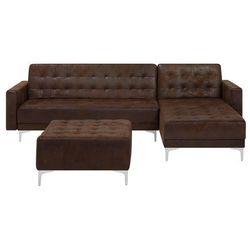 Sofa rozkładana imitacja skóry old style brąz lewostronna z otomaną aberdeen marki Beliani
