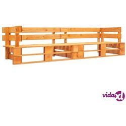 vidaXL Ogrodowa sofa 2-osobowa z palet, miodowy brąz, drewno FSC (8719883709543)