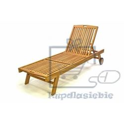 Leżak ogrodowy DIVERO z drewna tekowego z kółkami (4025327056512)