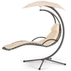 Fotel ogrodowy wiszący z podnóżkiem cayos beżowy marki Sofotel