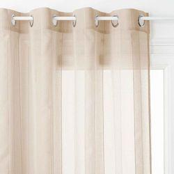 Cienka zasłona na przelotkach w kolorze beżowym, stylowa gotowa zasłonka do różnych wnętrz