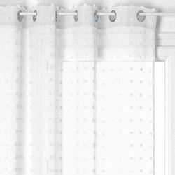 Gotowa zasłona na kółkach z modnym wzorem, biała zasłona okienna do eleganckich wnętrz (3560234529175)