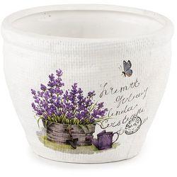 Doniczka ceramiczna, osłonka do kwiatów Lawenda, HL 703691, Autronic