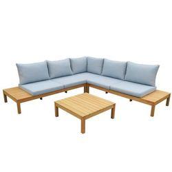 Salon ogrodowy ESTELI z drewna eukaliptusowego – sofa narożna i ława – siedzisko w kolorze niebieskim