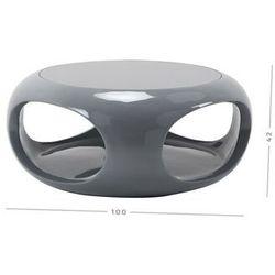 Stolik kawowy okrągły - wysoki połysk - big 002 szary marki Zona meble