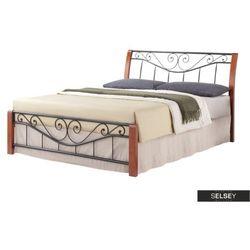 Selsey łóżko metalowe malakka 160x200 cm antyczna czereśnia - czarne (5903025289571)