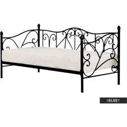 łóżko metalowe perline 90x200 cm czarne marki Selsey