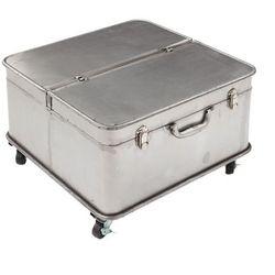 Dekoria stolik kawowy factory trunk 55x55x38cm silver, 55 × 55 × 38 cm