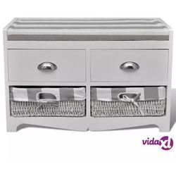 Vidaxl ławeczka do przedpokoju, z szufladami i koszami oraz szarą poduszką
