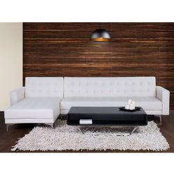 Sofa biała - kanapa - skórzana - rozkładana - narożnik - ABERDEEN (7081459835446)