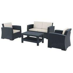Zestaw mebli ogrodowych z technorattanu Monaco sofa 2 osobowa + 2 fotele + stolik szary ze sklepu HAGEA