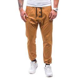 Camelowe spodnie joggery męskie Denley 0472 - CAMELOWY, kolor brązowy