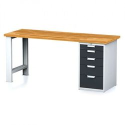 Stół warsztatowy mechanic, 2000x700x880 mm, 1x szufladowy kontener, 5 szuflad, szary/antracyt marki B2b partner