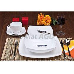 quadrato white - serwis obiadowo-kawowy 30 części na 6 osób marki Luminarc