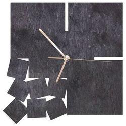Drewniany zegar na ścianę Kwadratowy ze złotymi wskazówkami (5907509934315)
