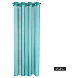 firana na przelotkach elasabe 140x250 cm z ozdobnymi pomponikami turkusowa marki Selsey