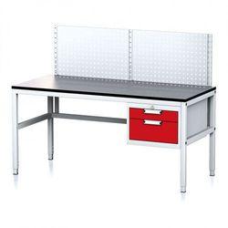 Stół warsztatowy mechanic ii z panelem perforowanym, 1600 x 700 x 745-985 mm, 2 kontenery szufladowe, szary/czerwony marki B2b partner