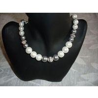 N-00034 Naszyjnik z perełek szklanych, popielatych i białych