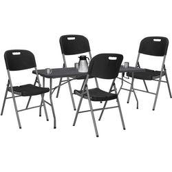 Zestaw cateringowy, stół 180 cm z 4 krzesłami składany na bankiet, zestaw turystyczny czarny