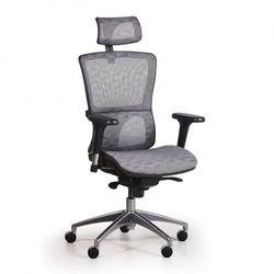 Krzesło biurowe z siatkowanym oparciem LEXI, szare
