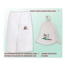 Pakiet logo - Kilt Ręcznik 85*140cm 100% Bawełna + Czapka biała do sauny J