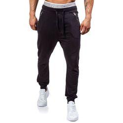 Czarne spodnie dresowe joggery męskie Denley 2652 - CZARNY