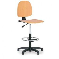 Drewniane krzesło robocze - podpórka na nogi, ślizgacze marki B2b partner