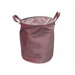 Kosz na pranie tessoro - welur - różowy marki Vente-unique