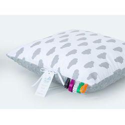 poduszka minky dwustronna 40x40 chmurki szare na bieli / jasny szary marki Mamo-tato