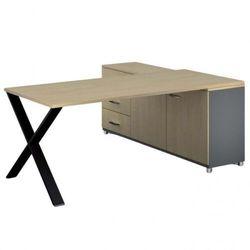 B2b partner Biurowy stół roboczy alfa x z szafką po lewej, blat 1800 x 800 mm, wzór brzoza