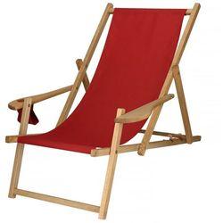 Leżak drewniany impregnowany z podłokietnikami i miejscem na napój czerwony marki Springos