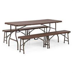 Blumfeldt burgos meble ogrodowe stół 2 ławki stal hdpe składany brąz (4260509681537)
