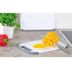 Kesper Deska do krojenia w kolorze szarym i białym, plastikowa deska, deska kuchenna, deska do serwowania, akcesoria kuchenne,