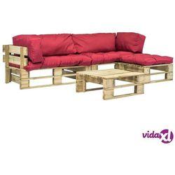 vidaXL Meble ogrodowe z palet, 4 szt., drewno FSC, czerwone poduszki